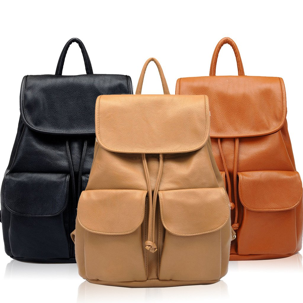 Popular Women Daily Backpacks Daypack Girl School Bag PU Leather Bags Candy